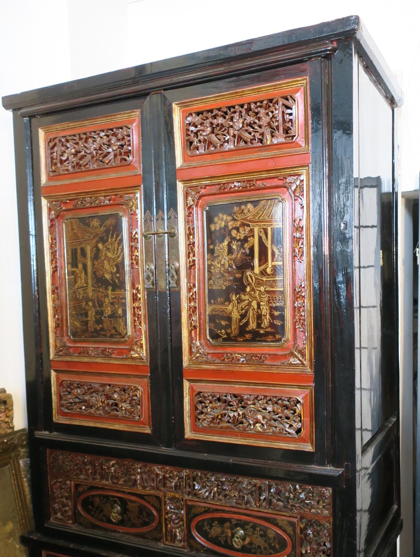 Vintage China Hochzeitsschrank Schrank Holz Schwarz Rot