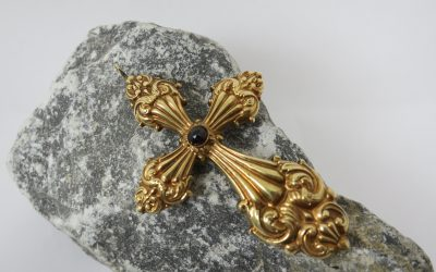 Antiker Ketten Anhänger Granat Kreuz 585 Gold 19. Jh. – Pendant Garnet
