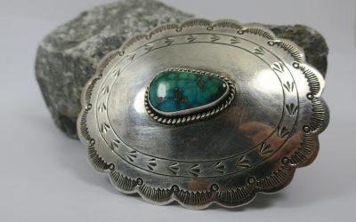 Vintage Gürtelschnalle Gürtelschließe Silber Zuni Navajo Türkis Indianerschmuck
