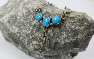 Vintage Halskette / Kette / Collier Navajo 925 Silber & Türkise Navajo Indianer Schmuck RB Sterling Robert Becenti