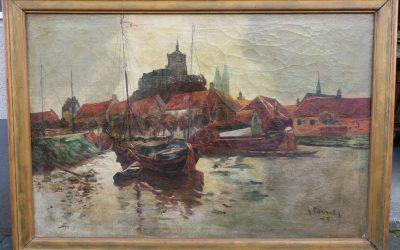 Comes Edward (XIX-XX) Gemälde Rhein mit Blick auf Köln (Kirche Groß St. Martin & Kölner Dom) ? 1924