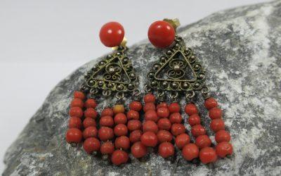 Vintage Paar Jugendstil Ohrringe Koralle & Silber vergoldet Korallenohrringe ~1900