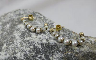 Paar Ohrgehänge 375 & 585 Gold mit Perlen – England – Ohrstecker / Ohrringe