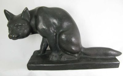 Deus Oskar Wilhelm 1889-1964 Bronze sitzender Fuchs Figur / Skulptur / Plastik