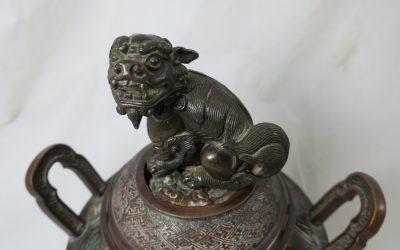 Bronze Räuchergefäß China ~ 1850/60 Fo Hund Siegelmarke Asiatika Weihrauchgefäß