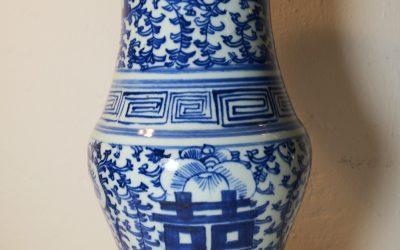 China Porzellan Hu Vase – Shou Doppeltes Glück – Guangxu 19. Jh. Rankenwerk