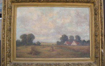 Frenzel Oskar 1855-1915 großes Gemälde 171 x135cm, Sommer Landschaft Häuser Feld mit Heu