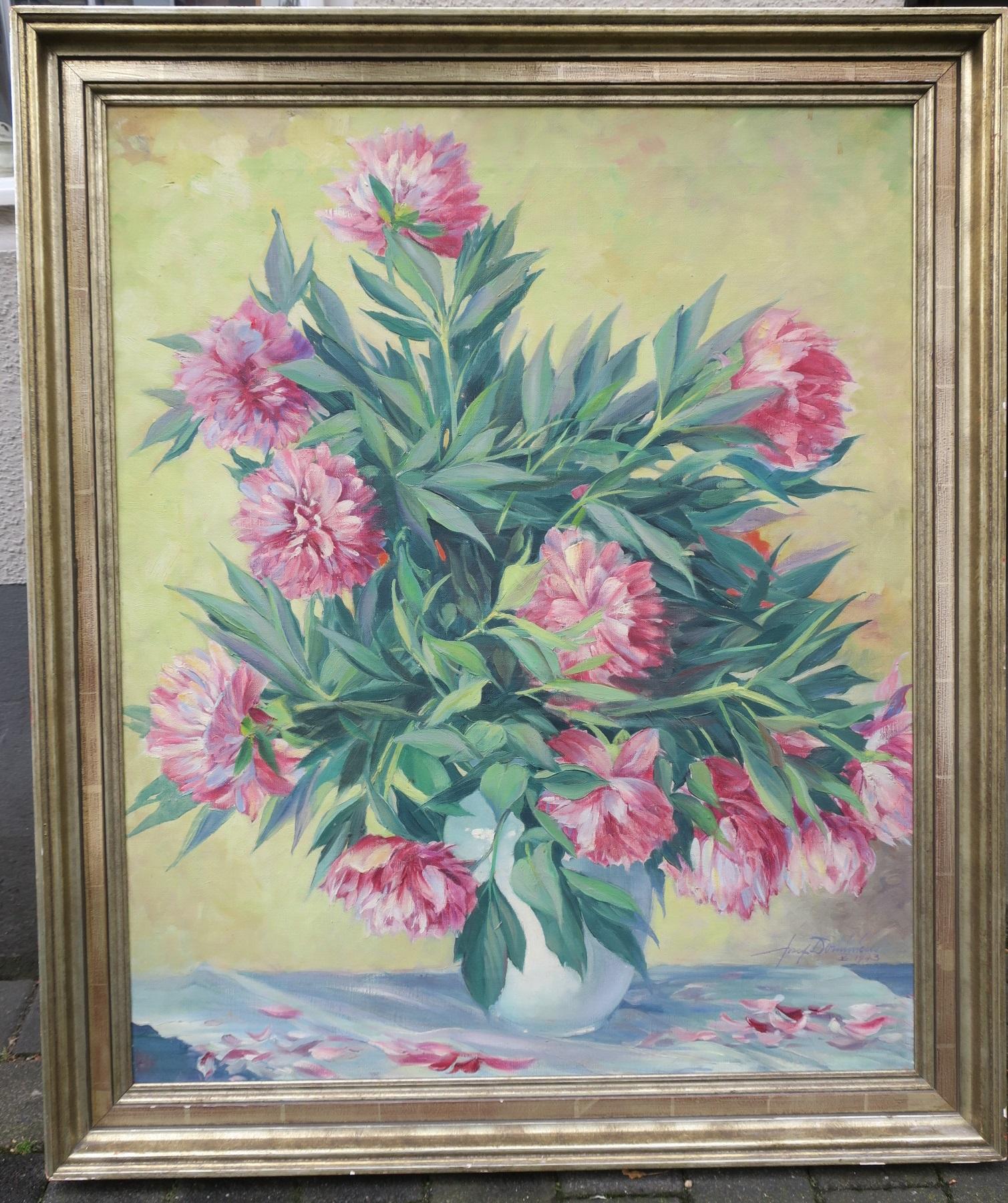 Dominicus Josef 1885 1973 Gemalde Pfingstrosen Blumen Stillleben 1943 Kunsthandel Hagedorn